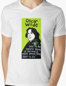 Oscar Wilde Pop Folk Art Mens V-Neck T-Shirt