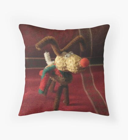 Peanut, the Helpful Reindeer Throw Pillow