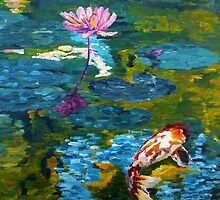 Tranquil Koi Lily Pond by jessiecally