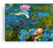 Tranquil Koi Lily Pond Canvas Print