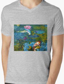 Tranquil Koi Lily Pond Mens V-Neck T-Shirt