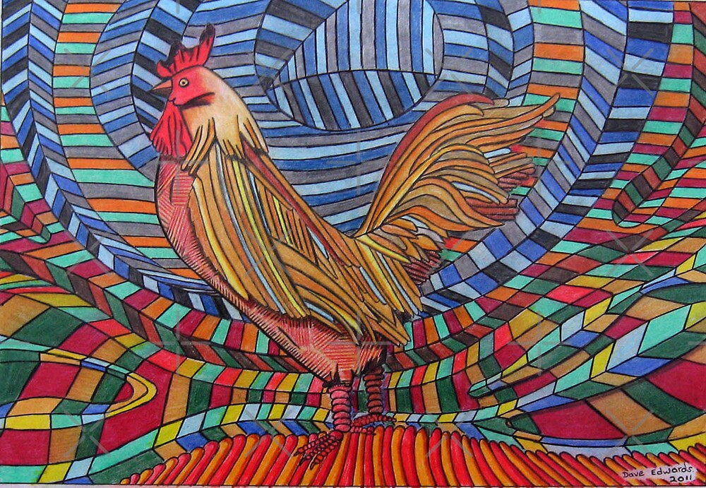317 - COCKEREL DESIGN - DAVE EDWARDS - COLOURED PENCILS - 2011 by BLYTHART
