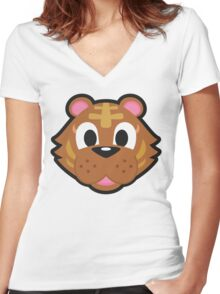 BANGLE ANIMAL CROSSING Women's Fitted V-Neck T-Shirt