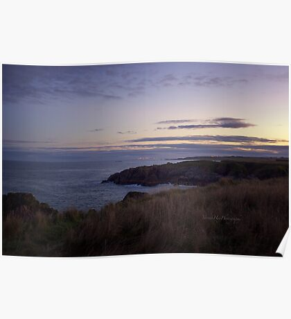 Sunset on Cruden Bay - North East coast of Aberdeenshire, Scotland Poster