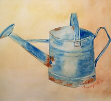 Blue Watering Can by paintstrokes