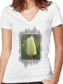 Tulip named Perles de Printemp Women's Fitted V-Neck T-Shirt