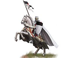 Templar on Rearing Horse (digitally coloured) Photographic Print