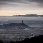 Misty View over Wallace Monument and Stirling  by Tristan Hopkins