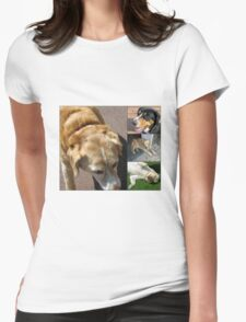 Friendly Canines Collage Womens Fitted T-Shirt
