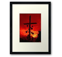 I am the Vine You are the branches Cross at Sunset Framed Print