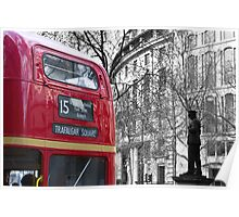 London Red - Statue and Routemaster Poster