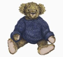 Brown Teddy Bear with Blue Jumper One Piece - Short Sleeve