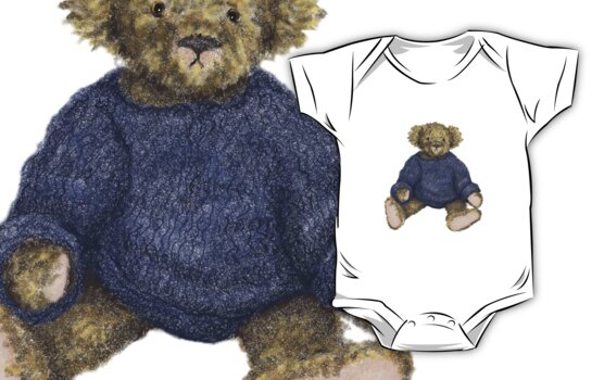 Brown Teddy Bear with Blue Jumper by Amanda Latchmore
