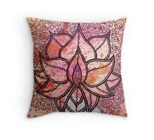 Mandala lotus zen yoga asian meditation doodle watercolor Throw Pillow