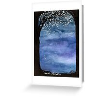 Blue sky, Tree watercolor painting Greeting Card