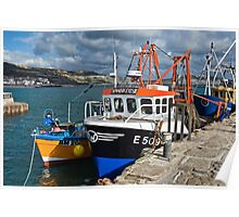 Crowded Wharf ~ Lyme Regis Poster