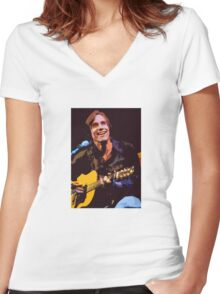 Jackson Browne- Smiling with Guitar Women's Fitted V-Neck T-Shirt