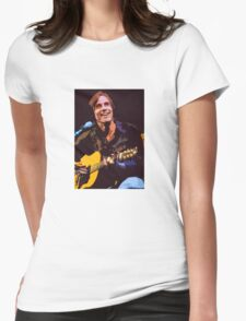 Jackson Browne- Smiling with Guitar Womens Fitted T-Shirt