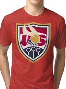 United States of America Quidditch Logo Large Tri-blend T-Shirt