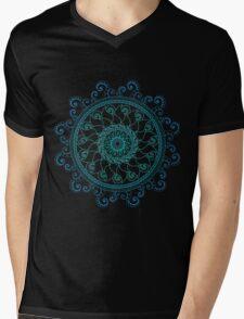 Mandala Doodle Tangle Blues Turquoise Mens V-Neck T-Shirt