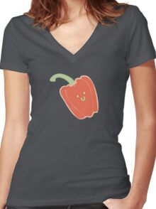 Vegasaur- Capsicum Women's Fitted V-Neck T-Shirt