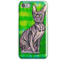 HeartFULL Cat Art: Sphynx Cat Mixed Media Painting iPhone Case/Skin