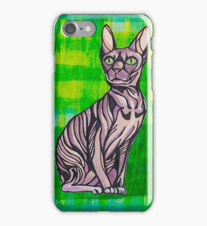 HeartFULL Cat Art: Sphynx Cat Mixed Media Painting iPhone Case/Skin