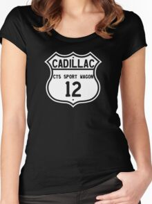 2012 Cadillac CTS Sport Wagon Highway Route Sign Women's Fitted Scoop T-Shirt