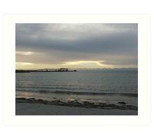 silver sky & sea with jetty Art Print