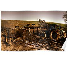 Tractor, trailer, mud & cows Poster