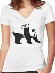 Negative Panda Women's Fitted V-Neck T-Shirt