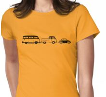 VW Samba, Dual Cab, Beetle - Black print Womens Fitted T-Shirt