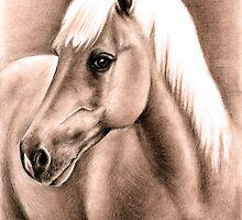 Horse Portrait Haflinger Stallion by Nicole Zeug