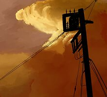 orange sky telephone wires by Maysoulrose