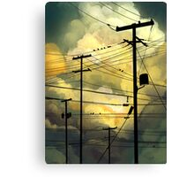 green sky telephone wires Canvas Print