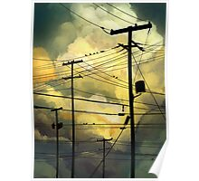 green sky telephone wires Poster