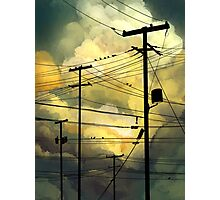 green sky telephone wires Photographic Print