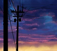 purple sky telephone wires by Maysoulrose