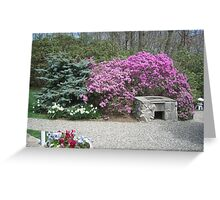 Stone Barbecue Grill overshadowed by Purple Azaleas Greeting Card