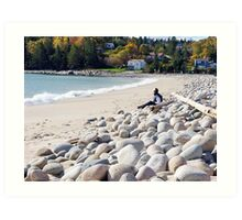 A Beach in Autumn Art Print