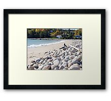 A Beach in Autumn Framed Print