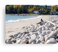 A Beach in Autumn Canvas Print