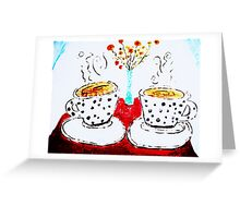 Coffee, Poppies, Polka Dotties Greeting Card