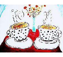 Coffee, Poppies, Polka Dotties Photographic Print
