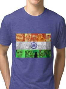 Indian Flag With Women Of India Tri-blend T-Shirt