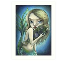 Mermaid and catfish Art Print