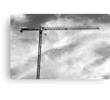 Construction Crane – black and white photograph Canvas Print