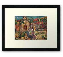 Mariano Rodriguez Cuban Plaza Painting Framed Print