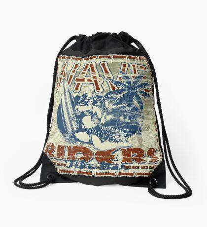 wave riders tiki bar Drawstring Bag