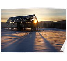 Empty Winter Hayshed Poster